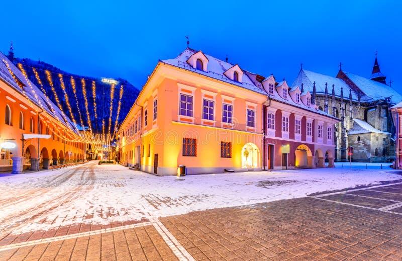 Brasov, Roumanie - marché de Noël en Transylvanie images libres de droits