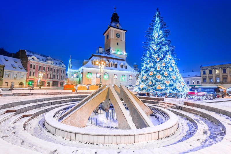 Brasov, Roumanie, marché de Noël en Transylvanie, l'Europe photo stock