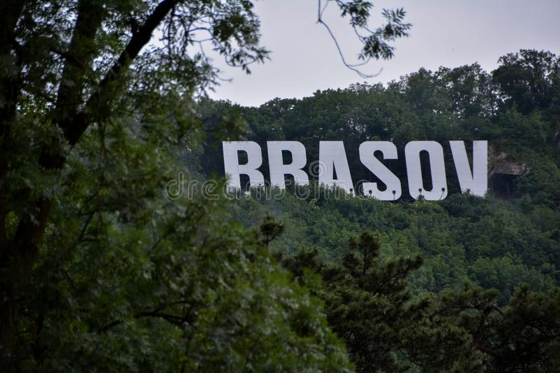 Brasov sign on Tampa. Brasov logo on Tampa Hill, Romania royalty free stock image