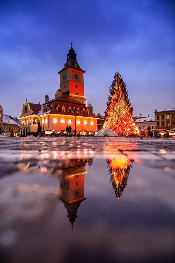 Brasov Transylvania Christmas Market and decorations. Piata Sfa. Tului square stock image