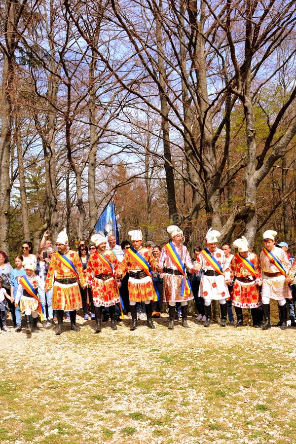 Men dancing during Juni parade in city Brasov royalty free stock photos