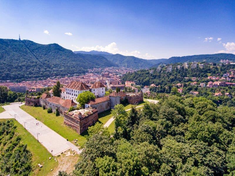 Brasov Transylvania Rumänien flyg- sikt arkivbild