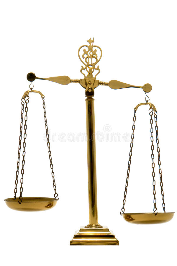 Brass Balance Scale of Justice and Law Isolated royalty free stock photo