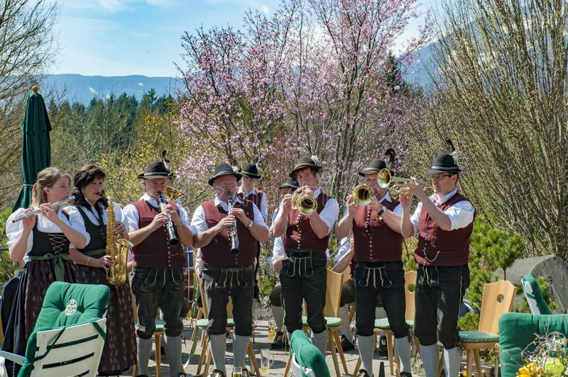 Brass Band in Alps, Bavaia, Germany stock photos
