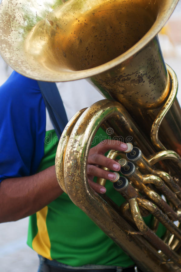 Brass band of Brazil. Old tuba of a country band, Brazil stock images