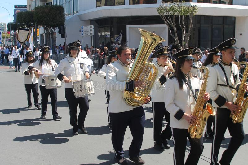 Brass Band Marching Along The Street Editorial Image - Image of