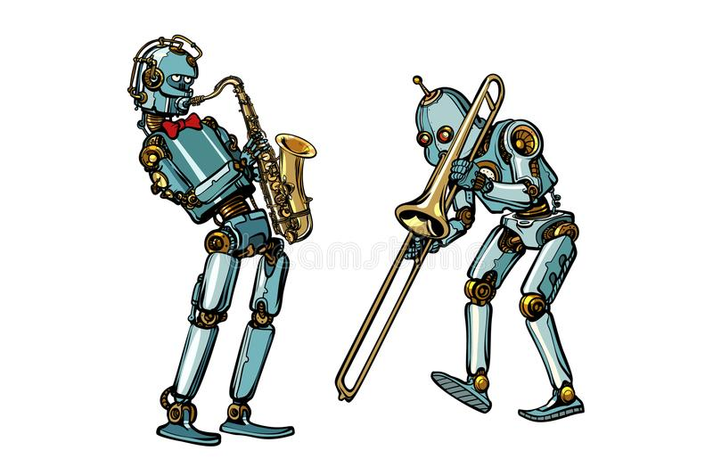 Brass band musicians robots, saxophone and trombone vector illustration