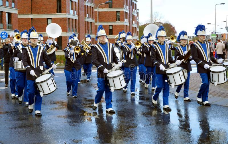 Brass band on parade of flowers. On parade of flowers in Netherlands royalty free stock images