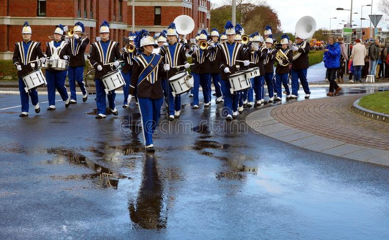 Brass band on parade of flowers. On parade of flowers in Netherlands stock photography