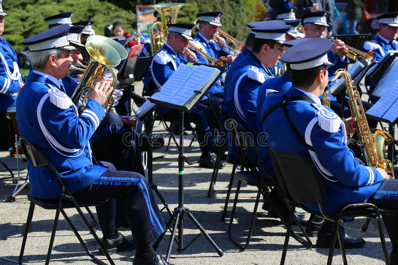 Brass band. Singing in the park on a sunny day royalty free stock image