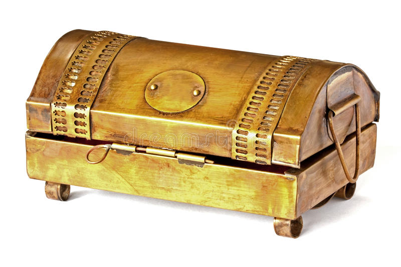 Download Brass box on white table stock photo. Image of antique - 30519946