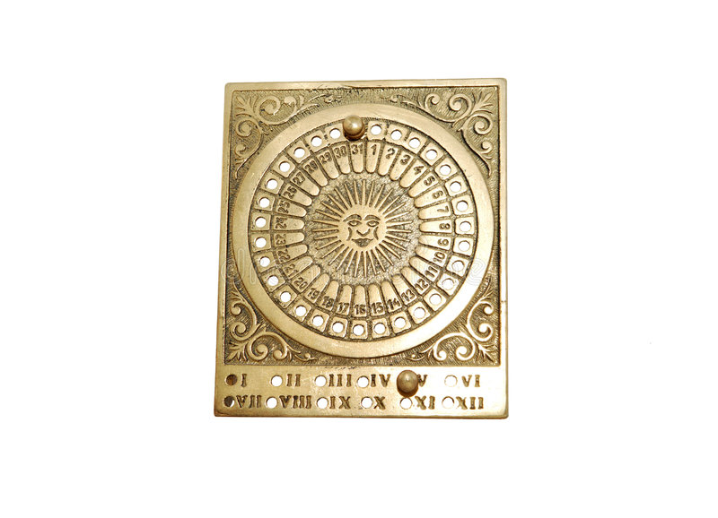 Brass calendar. Vintage antique brass frame calendar, can used for all the years stock photos