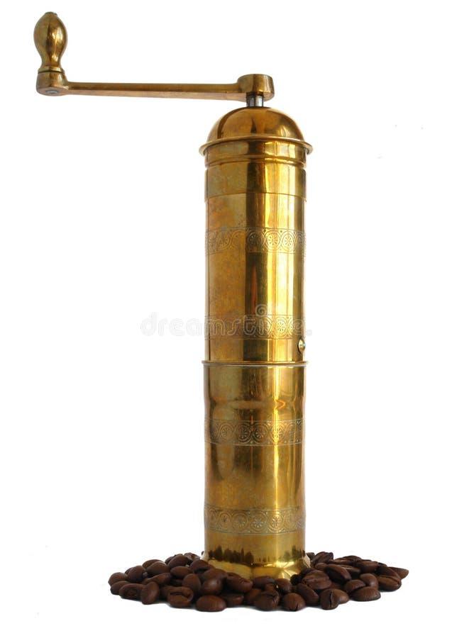 Brass coffee grinder stock photo