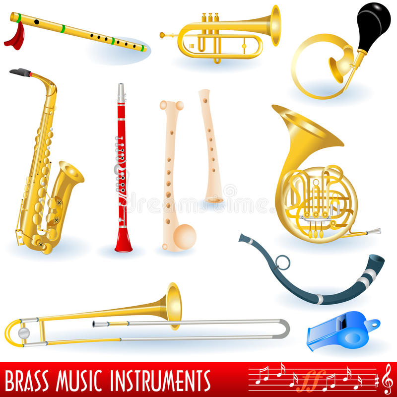 Download Brass collection stock vector. Image of classical, reed - 13168487