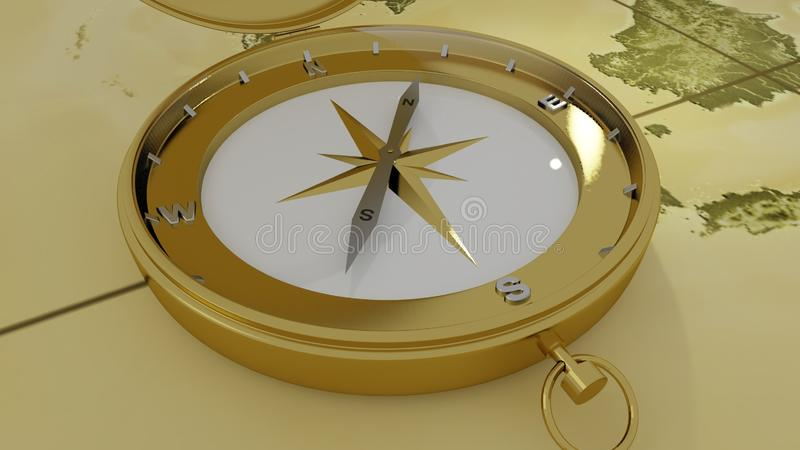 Brass compass on a world map background. 3D rendering royalty free illustration