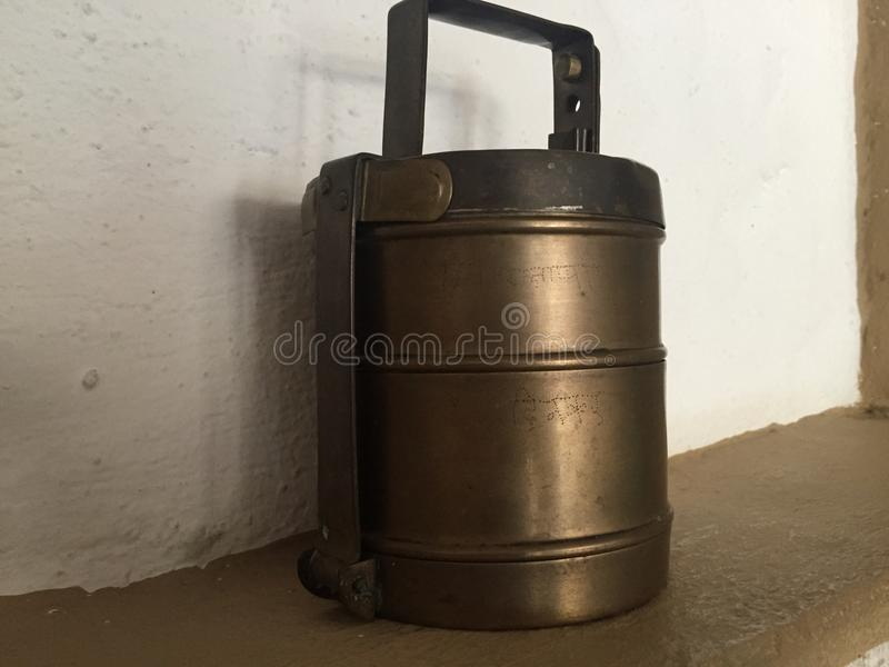 Brass containers stock image