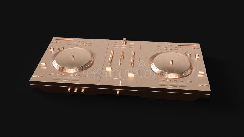 Brass Boombox StereoBrass Cassette TapeBrass DJ Decks stock illustration