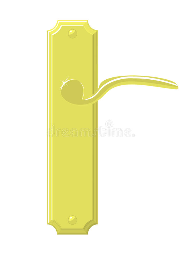 Brass door handle. The image of the polished brass door handle without casting shadows stock illustration