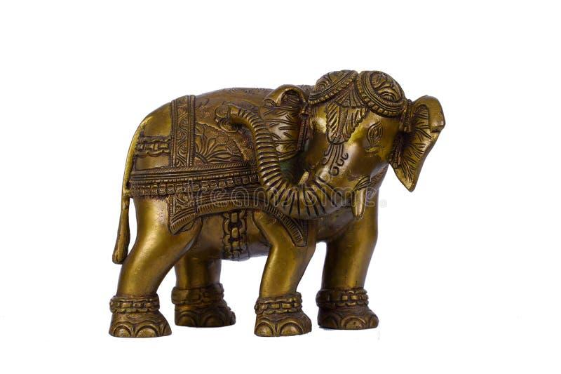 Brass Elephant. Isolated on white background stock photo