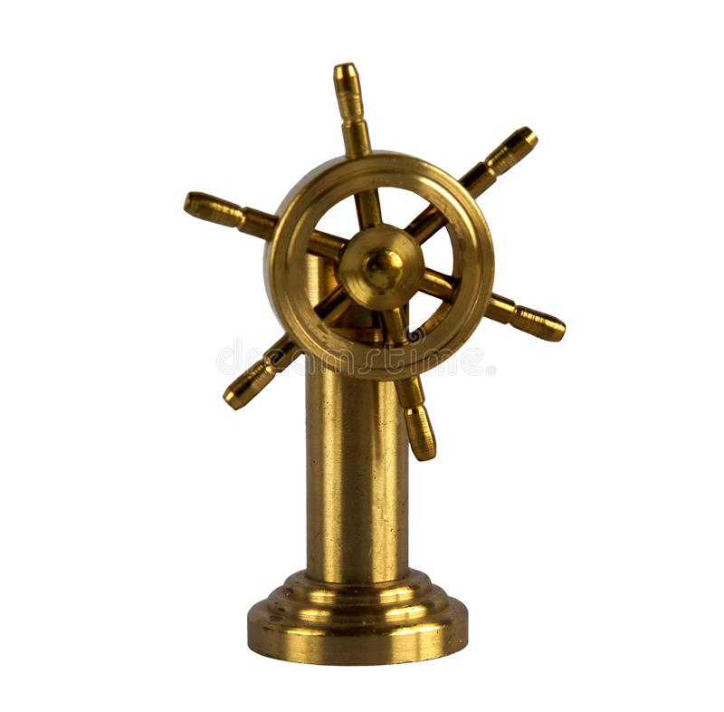 Vintage brass ship wheel stock image