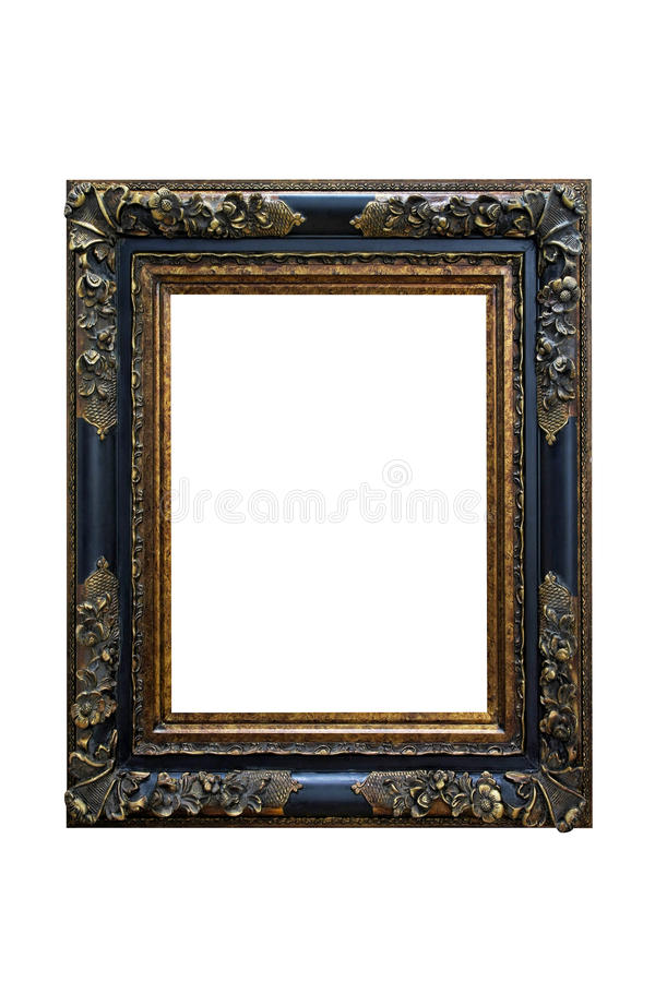 Brass frame. Brass photo frame isolated included clipping path stock photo