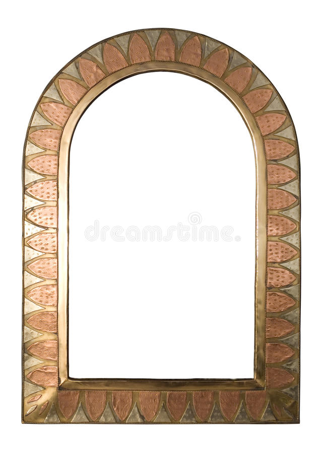 Brass Frame. A brass and copper arched picture frame, isolated on white with clipping path. Includes copy space stock photography