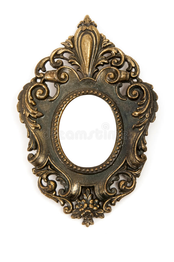 Brass Frame. Small antique brass frame isolated on white background stock photos