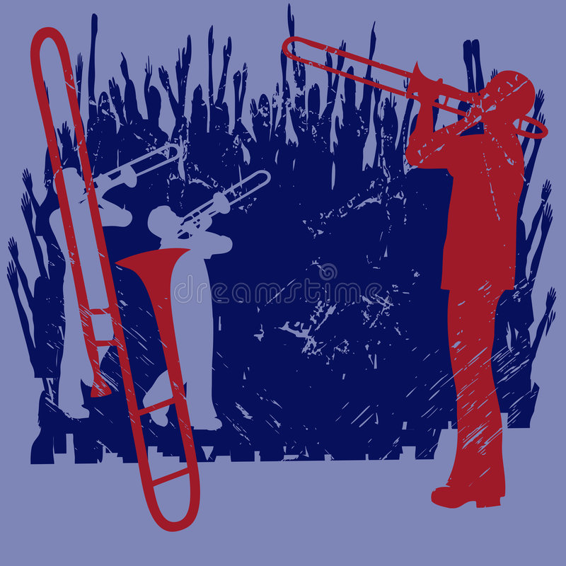 Brass Grunge. Grunge background illustration with saxophone players against an audience vector illustration