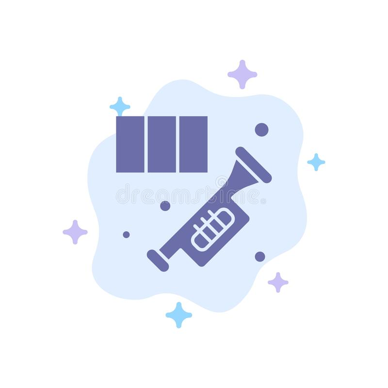 Brass, Horn, Instrument, Music, Trumpet Blue Icon on Abstract Cloud Background vector illustration