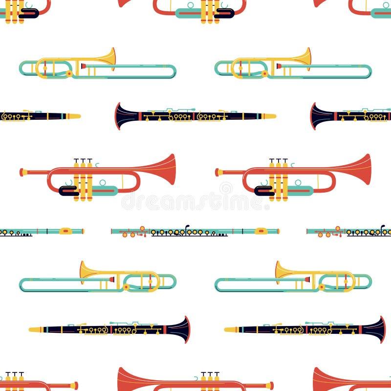 Brass instruments flat vector seamless pattern stock illustration