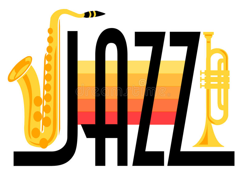 Brass Jazz/eps. Headline Jazz with saxophone and trumpet in bright hot colors