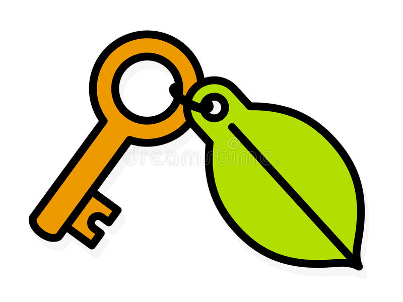 Brass key with a green environment leaf tag stock illustration