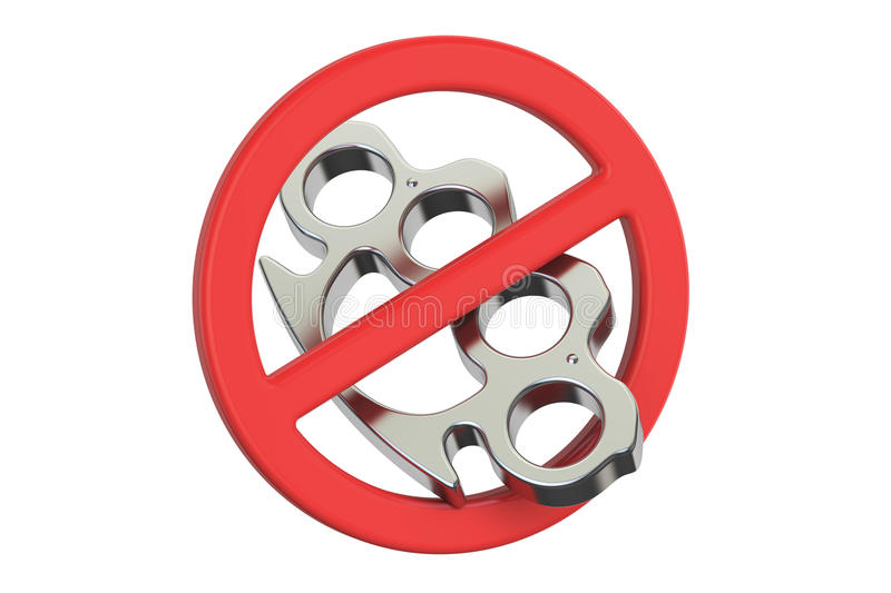 Brass knuckles with forbidden sign, 3D rendering royalty free illustration