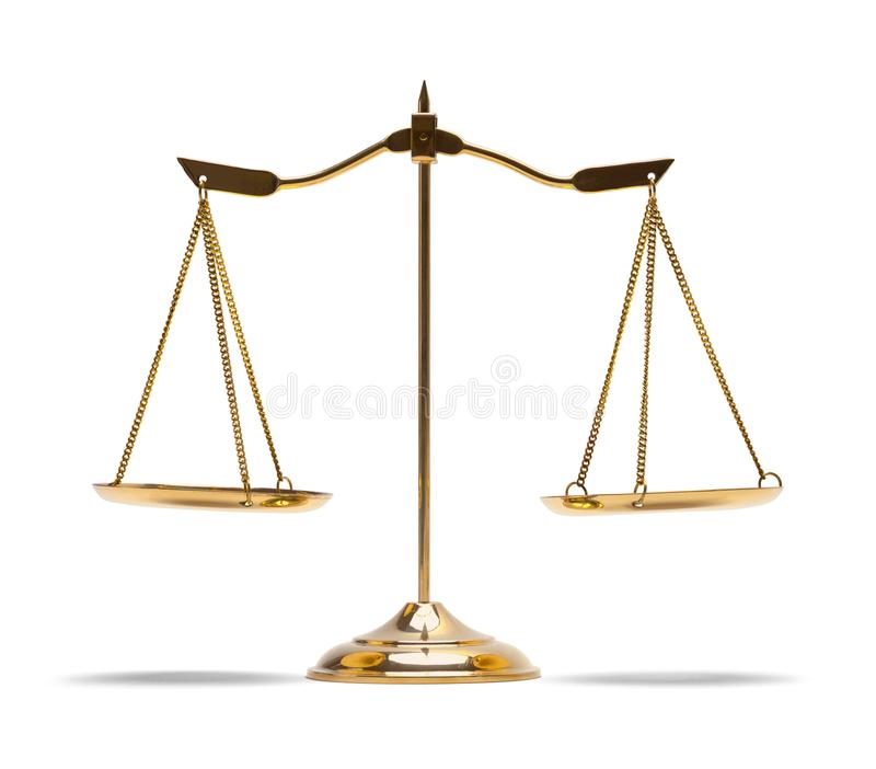 Scales of Justice. Brass Law Scales Isolated on White Background stock photos