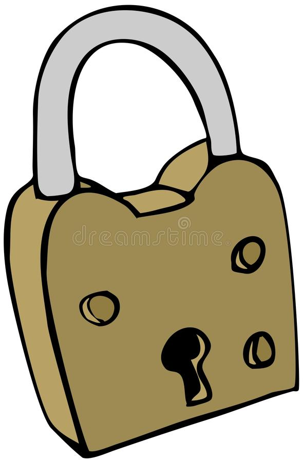 Brass Lock. This illustration depicts a brass bodied lock with an aluminum shackle royalty free illustration