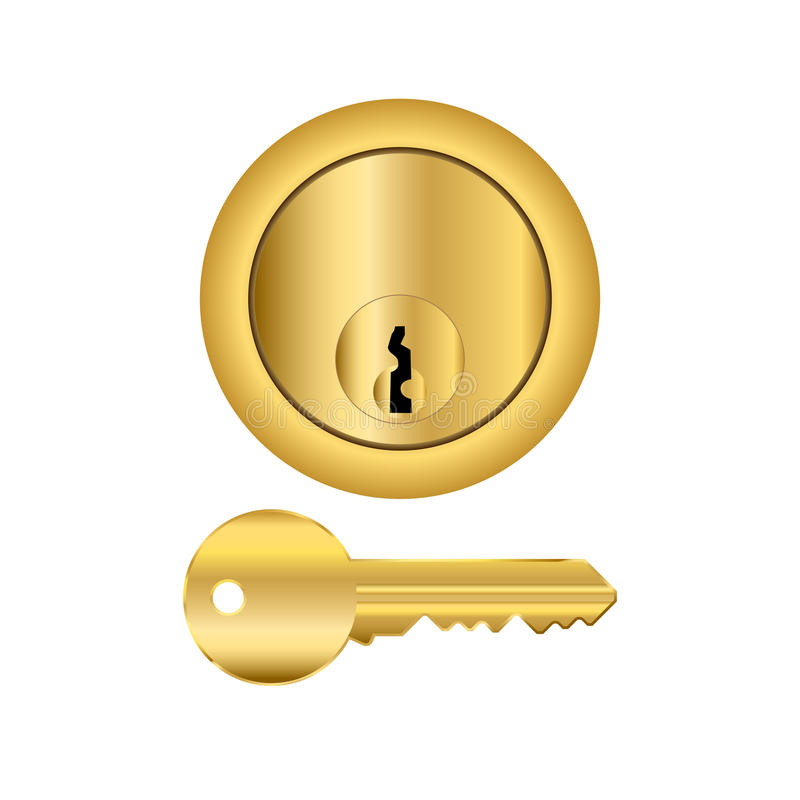 Brass Lock And Key stock illustration