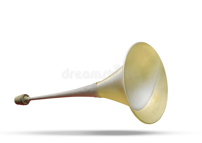 Brass metal announcement horn on white background with soft shadow use as multipurpose alarm hooter horn vintage and retro style. File of brass metal royalty free stock photos
