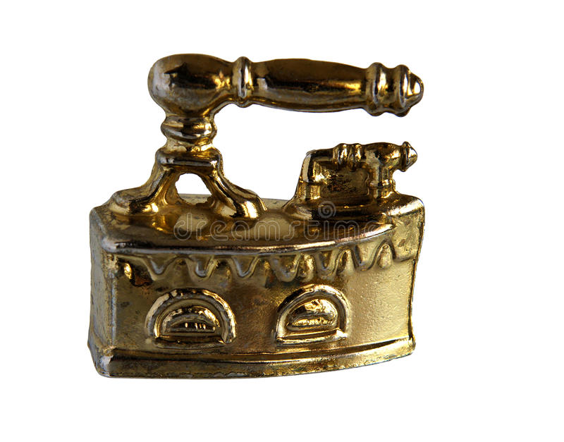 Brass miniature of vintage Charcoal iron royalty free stock photography