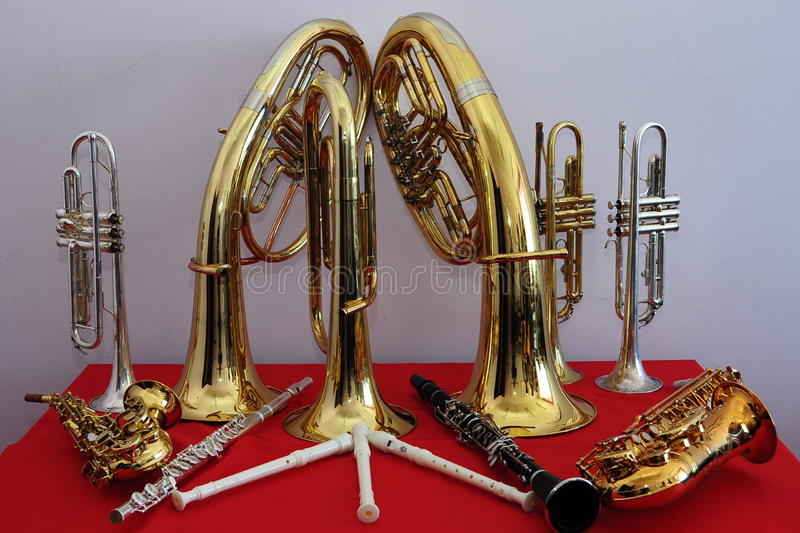 Brass musical instruments stock photos