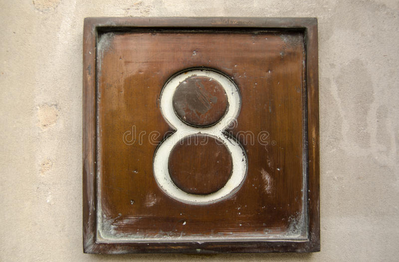 Brass number eight royalty free stock images