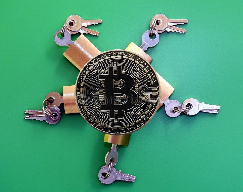 Brass padlocks and Bitcoin stock images