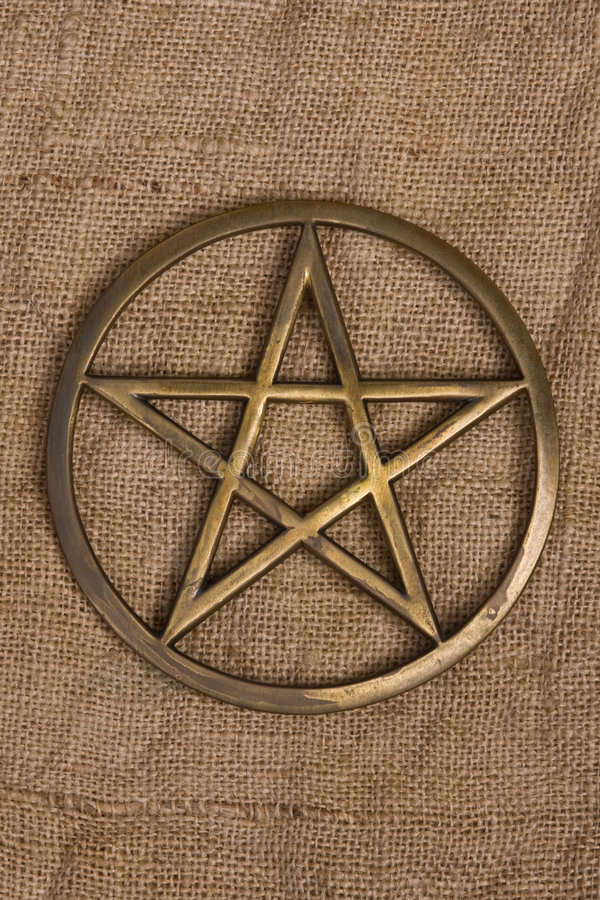 Download Brass Pentacle / Pentagram stock photo. Image of burlap - 8231584