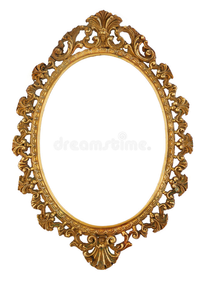 Brass Picture Frame. Isolated antique brass picture frame stock photography