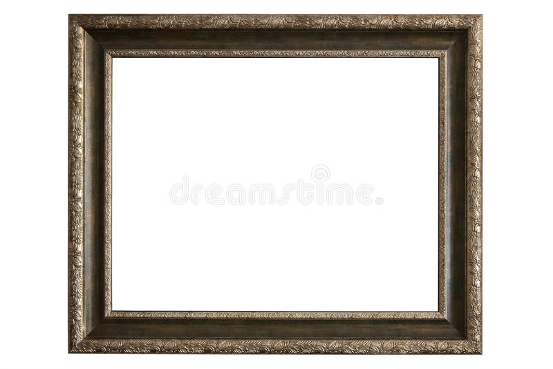 Brass picture frame on white background. Brass picture frame isolated on white background with clipping path royalty free stock photos