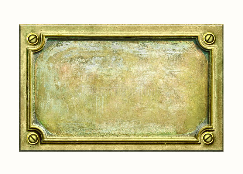 Brass plaque. Metal sign plate with frame and grunge texture for your text. Brass antique plaque with cracks and scratches on golden surface