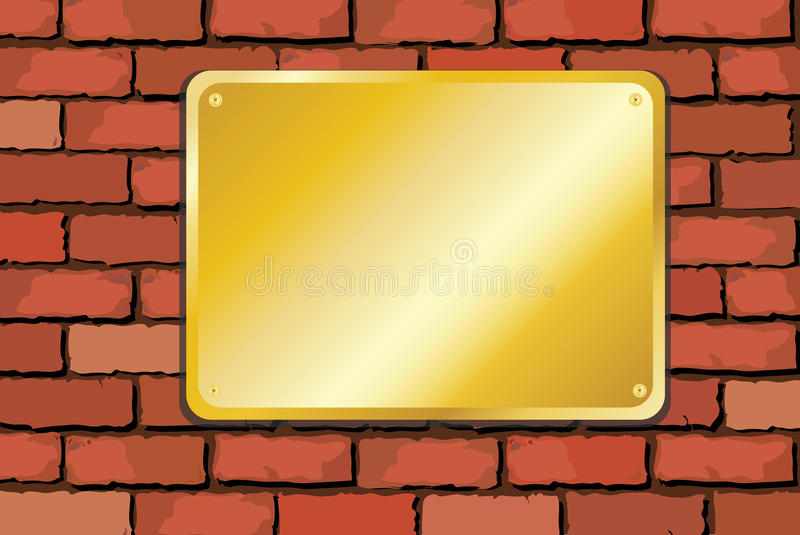 Brass plaque on brick wall royalty free illustration