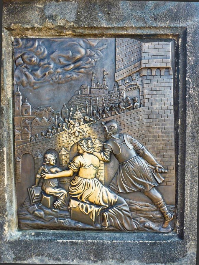 Brass Plaque on the Charles Bridge, Prague, Czech Republic royalty free stock image