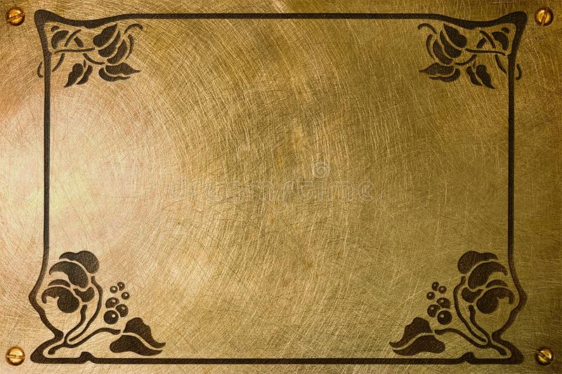 Nameplate with liberty style frame. A brass plate with an etched liberty style frame for a nameplate royalty free stock images