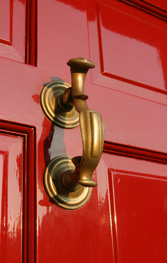 Brass Red Door Knocker, Georgian stock images