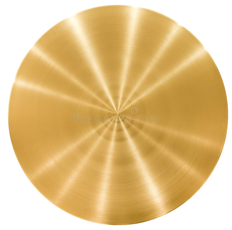 Brass round metal plate or disk royalty free stock photos